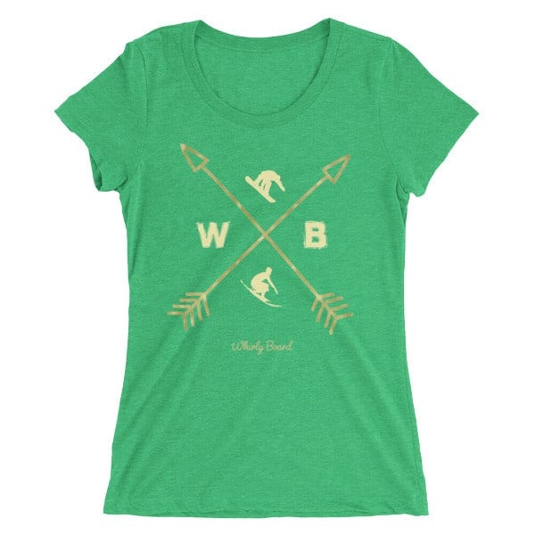 Green colored Compass T-shirt with WB snowboarder and surfer