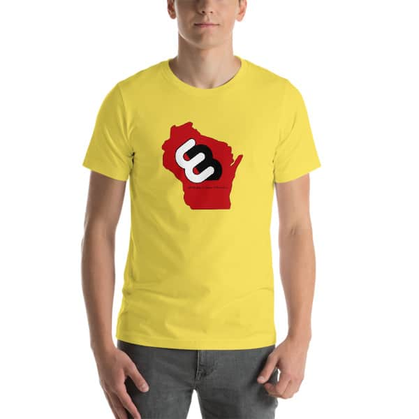 Yellow Wisconsin T-shirt Front with Red Wisconsin State and Whirly Board Logo