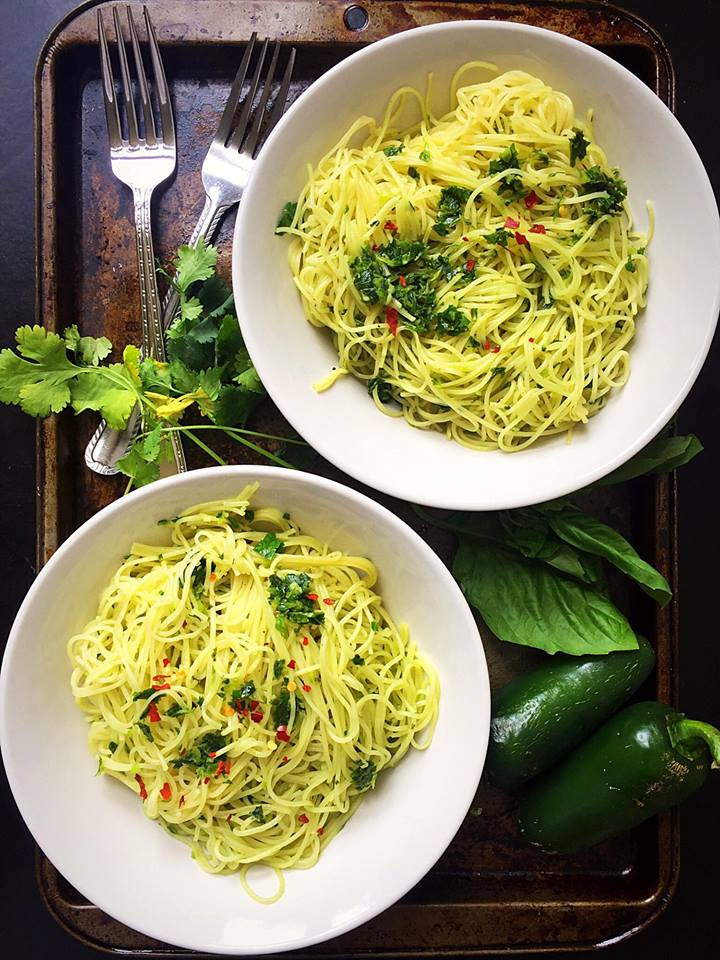 Angel Hair Pasta with Chimichurri Sauce {Vegan} | Whisk and Shout