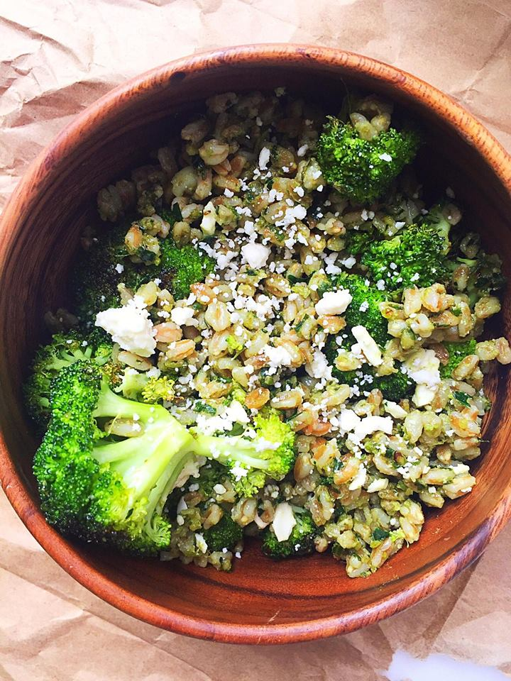 Warm Pesto Farro Bowl with Roasted Broccoli & Feta | Whisk and Shout