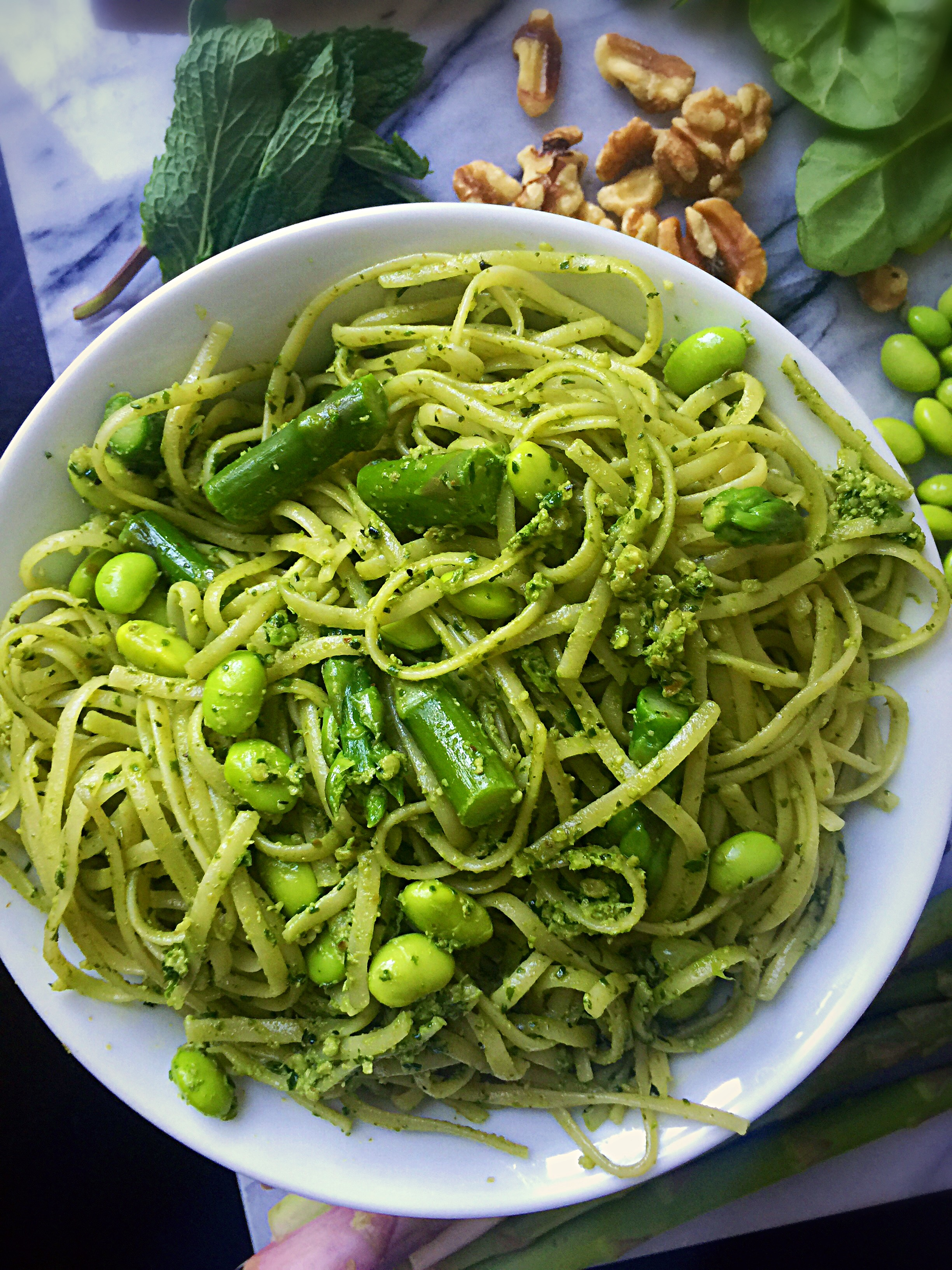 Spring Pasta with Mint Pesto, Asparagus, and Edamame!   Whisk & Shout