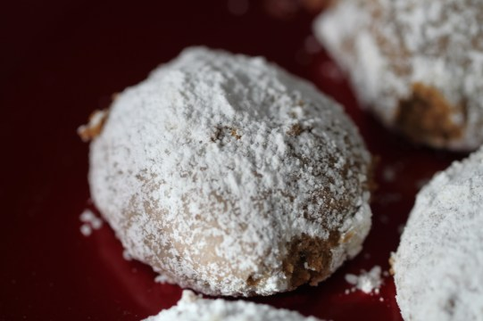 A brown pecan cookie covered in powdered sugar sits on a reflective red plate.