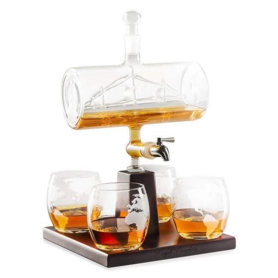 Whiskey Decanter SailShip Gift Set