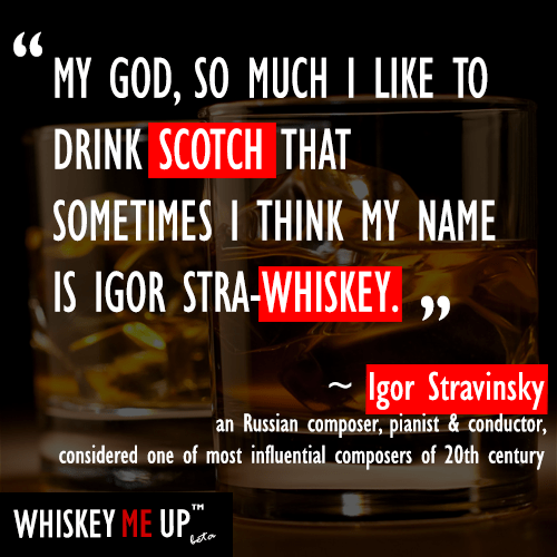 What happens to one of the most influential composers of the 20th century when drinking whiskey?