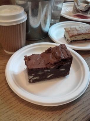 Chocolate brownie and Bakewell tart