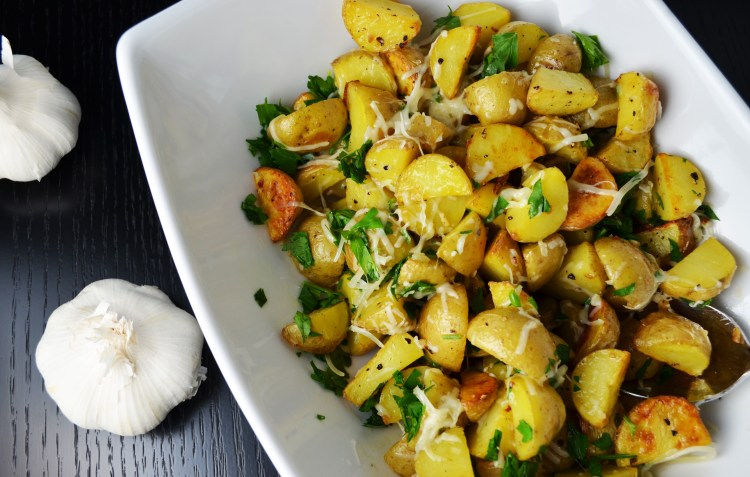 Roasted Potatoes with Garlic and Fresh Parmesan