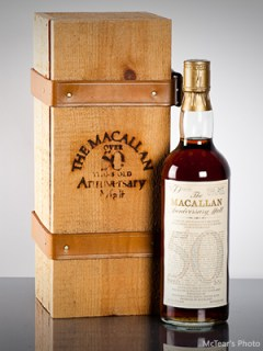 The Macallan Anniversary Malt bottle that sold for $27,200 at McTear's on May 22, 2013. Photo courtesy McTear's.