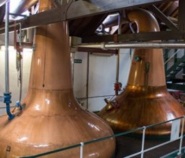 The still room at Speyburn Distillery in Rothes, Scotland. Photo ©2011 by Mark Gillespie.