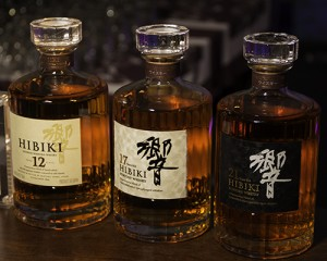 Suntory's Hibiki 12, 17, and 21-year old blended Japanese whiskies. Photo ©2014 by Mark Gillespie.