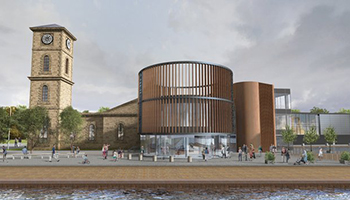 An architect's rendering of the Glasgow Distillery to be built along the River Clyde. Image courtesy Glasgow Distillery.