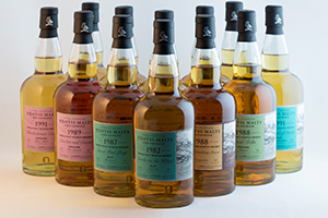 The latest batch of single cask Scotch whiskies from Wemyss Malts. Image courtesy Wemyss Malts.
