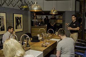 Inver House Master Blender Stuart Harvey leads a tasting for whisky writers in Edinburgh October 28, 2014. Photo ©2014 by Mark Gillespie.