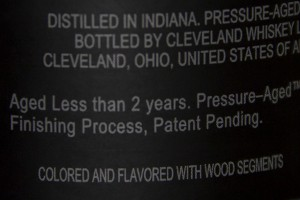 A Cleveland Whiskey age statement that would not comply with the TTB's updated labeling guidelines. Photo ©2015 by Mark Gillespie.