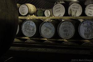 Casks in a Balblair Distillery warehouse, November 2014. Photo ©2014 by Mark Gillespie.