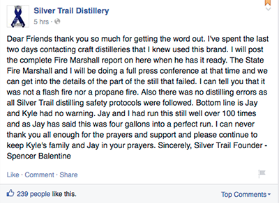 Silver Trail Distillery owner Spencer Balentine's post on the distillery's Facebook page May 23, 2015. Image courtesy Facebook.