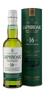 Laphroaig 16 Islay Single Malt Scotch Whisky. Image courtesy Laphroaig/Beam Suntory.