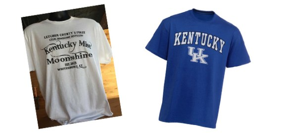 T-shirts for Kentucky Mist Moonshine and the University of Kentucky. Photos courtesy Kentucky Mist Distillery (via Kentucky.com) and UK Athletics Shop.