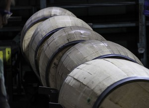 Barrels moving through an inspection line at the Brown-Forman Cooperage in Louisville, Kentucky. Photo ©2011 by Mark Gillespie.