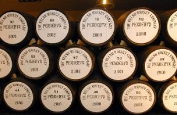 Barrels of whisky at Penderyn Distillery in Wales. Photo courtesy The Welsh Whisky Company.