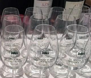 Glasses for the Scotch Malt Whisky Society's St. Andrews Day event in New York City November 30, 2016. Photo ©2016, Mark Gillespie/CaskStrength Media.