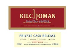 The labels for the Kilchoman single cask bottled for Stuart Wilson. All 257 bottles were stolen after a truck driver delivered them to the wrong address. Image courtesy Kilchoman Distillery.