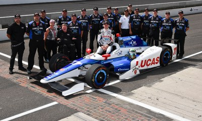 Jay Howard and the Schmidt Peterson Motorsports team following qualifying for Sunday's Indianapolis 500. Photo courtesy Schmidt Peterson Motorsports.