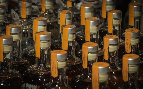 Bottles of craft whiskey lined up at Republic Restoratives Distillery in Washington, DC December 7, 2017. Photo ©2017, Mark Gillespie/CaskStrength Media.