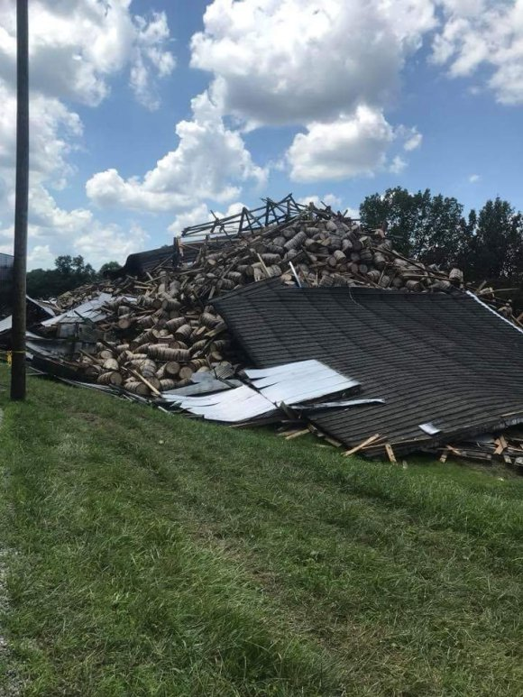 The aftermath following the collapse of the remainder of a whiskey warehouse at the Barton 1792 Distillery in Bardstown, Kentucky July 4, 2018. Photo courtesy Billy Mattingly/Bardstown Fire Department.