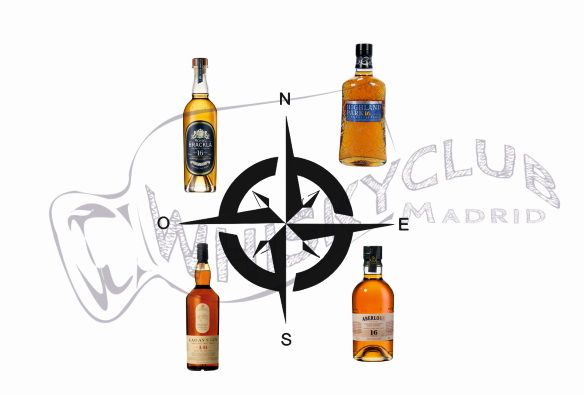 Cata de whisky de cuatro puntos cardinales del mapa del whisky escocés