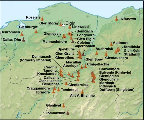 Mapa de whisky de Speyside
