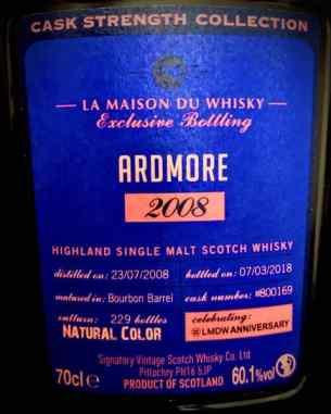 Ardmore 2008 embotellado en Cask Strenght como edición exclusiva por Signatory Vintage