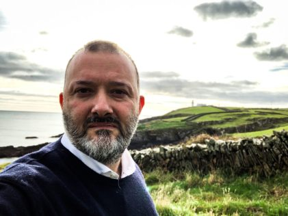 Beppe Durante in the fields at Clonakilty Irish Whiskey distillery