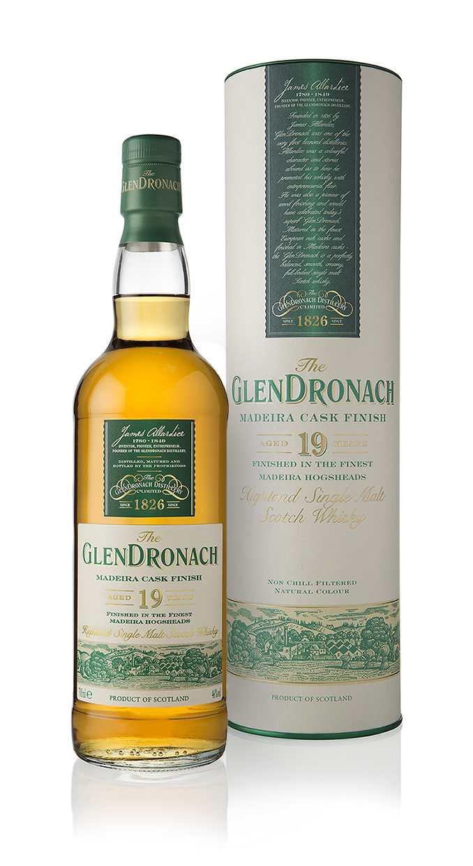GlenDronach 19YO Madeira Finish - bottle in front LR