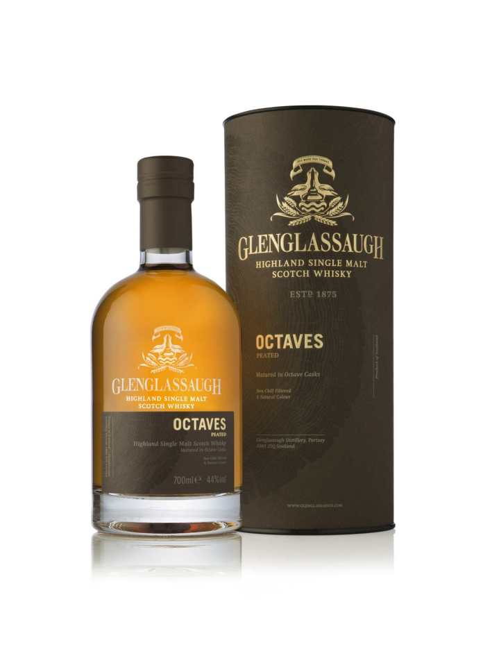 Glenglassaugh Octaves Peated - bottle in front of tube LR