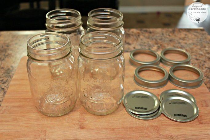 Empty mason jars ready to make jam!