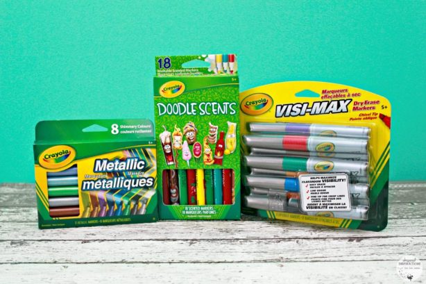 Metallic, Doodle Stars and VisaMax Crayola markers are displayed against a teal background.