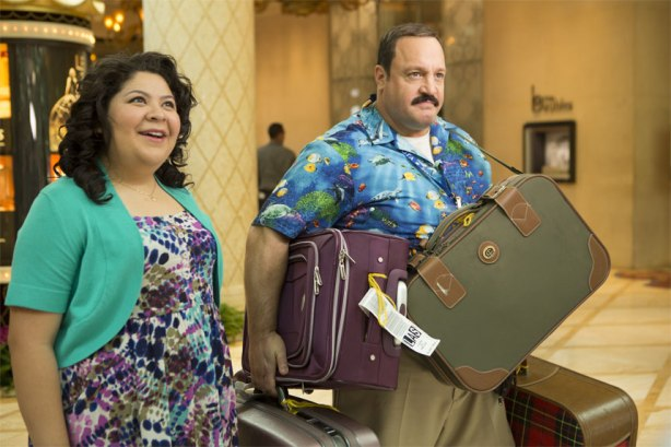 Paul Blart (Kevin James) and Maya (Raini Rodriguez) arriving at Wynn Las Vegas in Columbia Pictures' PAUL BLART: MALL COP 2.