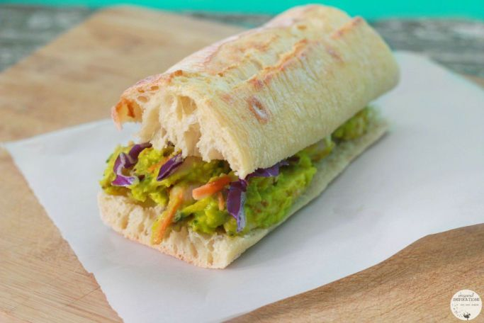 Sabra Guacamole chicken salad sandwich, topped with cabbage.