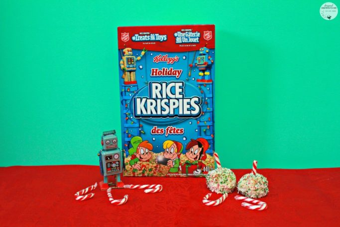A box of Holiday Rice Krispies is shown with the bite-sized festive Rice Krispies treats.