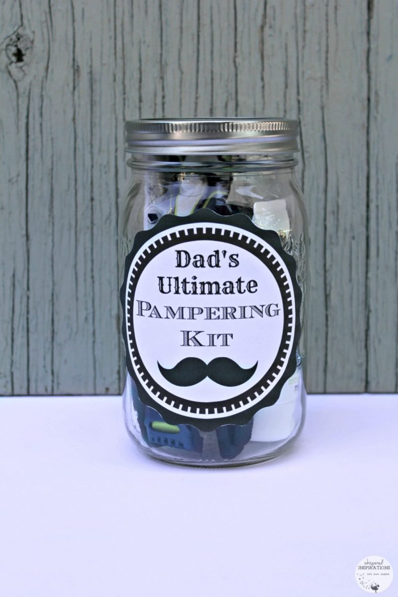 Dad's Ultimate Pampering Kit mason jar with label.