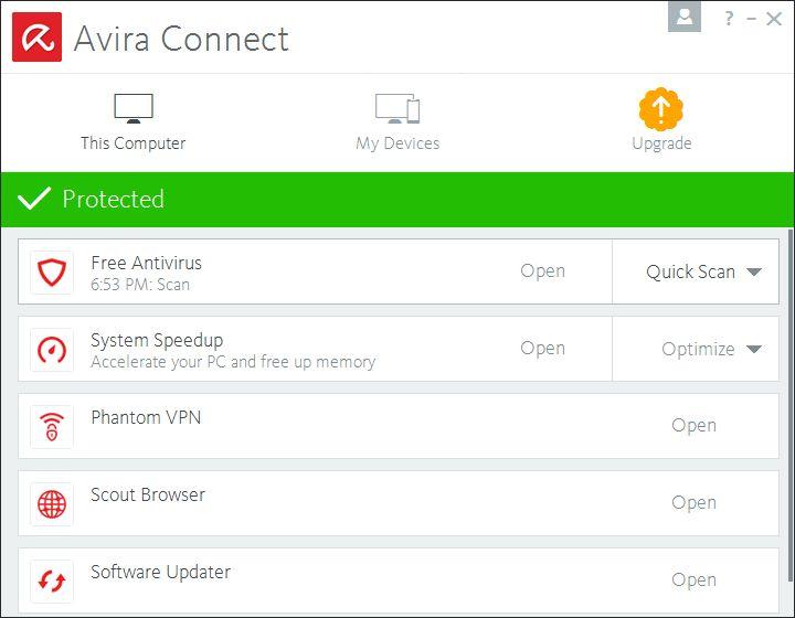 Avira Connect GUI