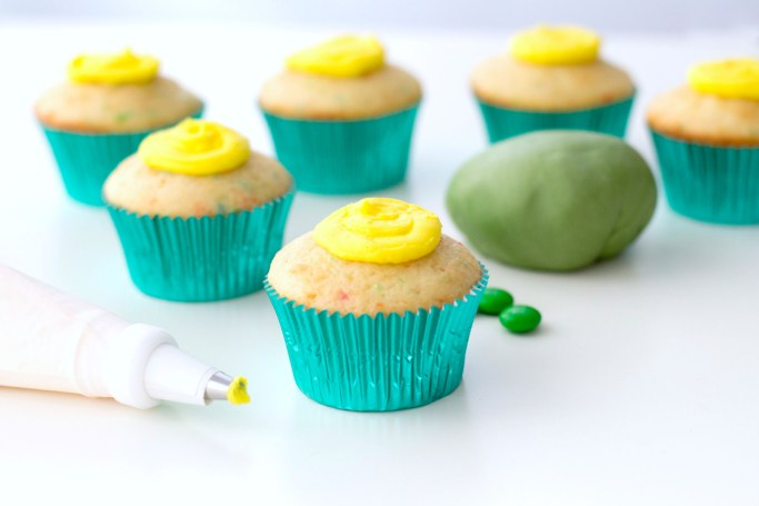 Add buttercream to top of cupcake.