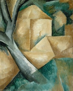 """Georges Braque, 1908, Maisons et arbre, oil on canvas, 40.5 x 32.5 cm, Lille Métropole Museum of Modern, Contemporary and Outsider Art"" by Georges Braque - Lille Métropole Museum of Modern, Contemporary and Outsider Art. Licensed under PD-US via Wikipedia - https://en.wikipedia.org/wiki/File:Georges_Braque,_1908,_Maisons_et_arbre,_oil_on_canvas,_40.5_x_32.5_cm,_Lille_M%C3%A9tropole_Museum_of_Modern,_Contemporary_and_Outsider_Art.jpg#/media/File:Georges_Braque,_1908,_Maisons_et_arbre,_oil_on_canvas,_40.5_x_32.5_cm,_Lille_M%C3%A9tropole_Museum_of_Modern,_Contemporary_and_Outsider_Art.jpg"