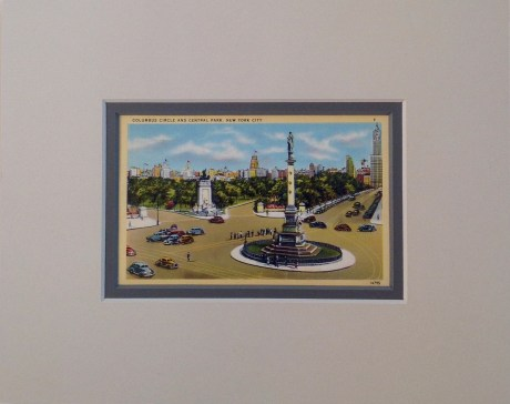 Columbus Circle and Central Park Vintage Postcard Matted $22