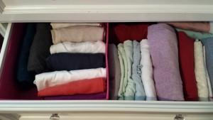 konmari shirts pajamas drawer