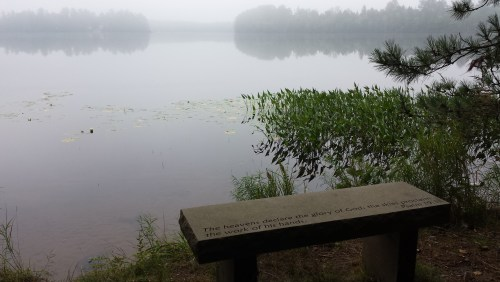 This is one stop on the prayer walk- a path along the lake with Scripture-etched benches for reflection.