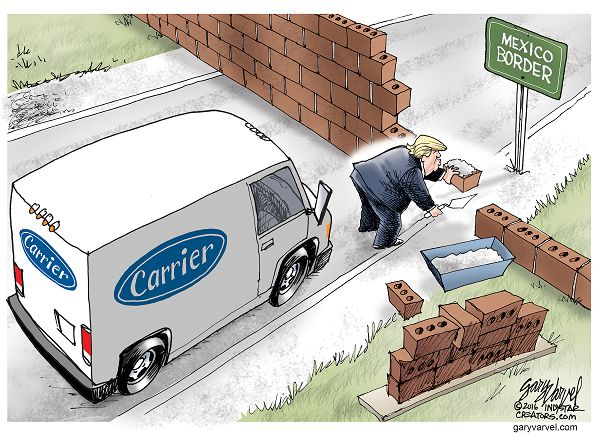 Image result for cartoons on donald j trump speech at carrier