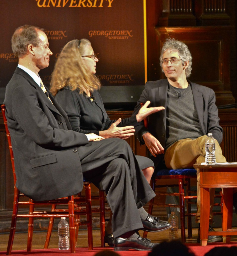 Thomas Drake and Coleen Rowley with Anthony Arnove at Georgetown University, April 22, 2014.