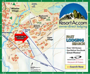 Whistler Woodrun Lodge Accommodation Map