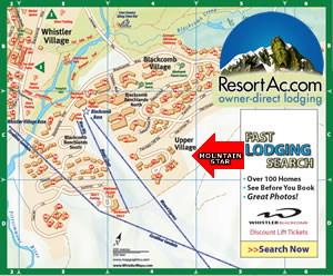 Whistler Mountain Star Accommodation Map